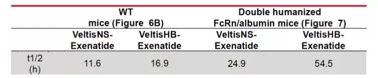 该化合物的半衰期延长是由于提高了Veltis®对人类FcRn的高亲和力