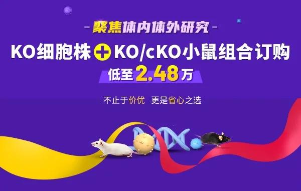 KO细胞株+KO/cKO小鼠组合订购,低至2.48万!